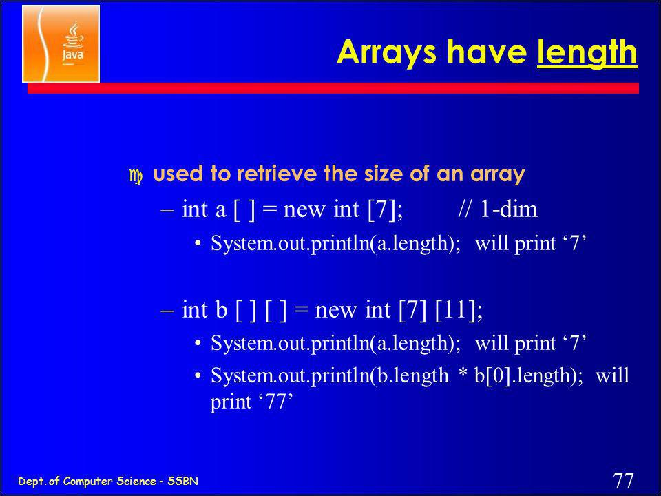 Arrays have length int a [ ] = new int [7]; // 1-dim